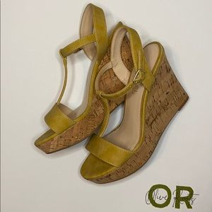 Michael Shannon Mustard Yellow Cork Wedged Sandals